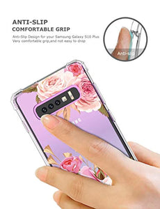 Floral Clear Galaxy S10 Plus Case for Women/Girls,GREATRULY Pretty Phone Case for Samsung Galaxy S10 Plus,Flower Design Transparent Slim Soft Drop-Proof TPU Bumper Cushion Silicone Cover Shell,FL-K