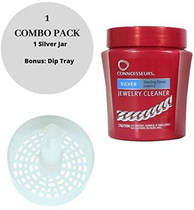 CONNOISSEURS Jewelry Cleaner, for Silver, Diamond, Platinum, Gold & Precious Stones with Polishing Cloth & Dip Tray -Tarnish Remover