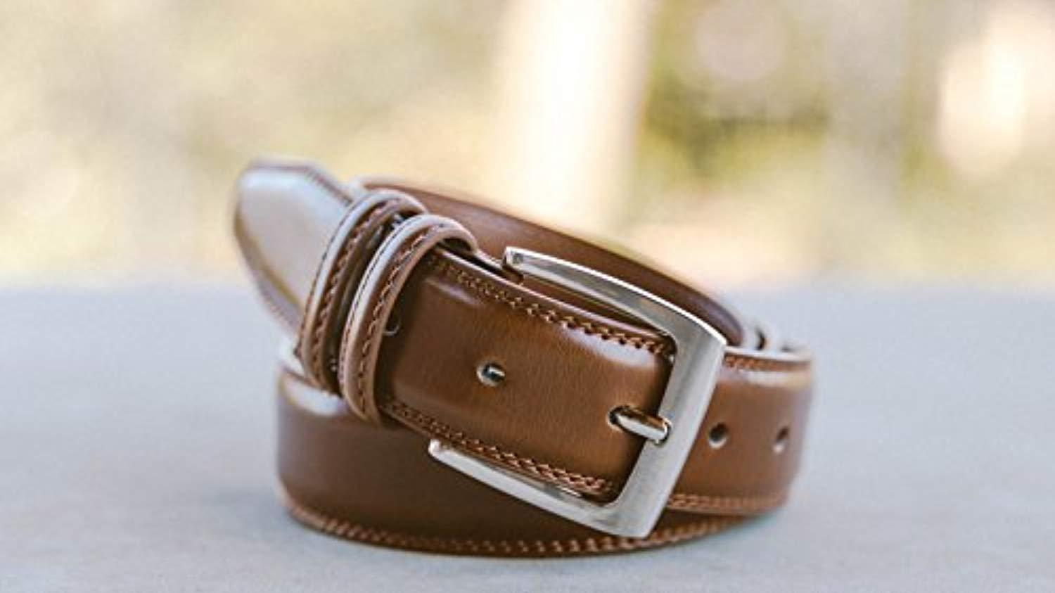 Men/'s Dress Belt ALL Genuine Leather Double Stitch Classic Design 35mm All