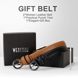 WERFORU Women Leather Belt Waist Skinny Dress Belts Solid Pin Buckle Belt For Jeans Pants