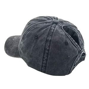 Eohak Ponytail Baseball Hat Distressed Retro Washed Cotton Twill
