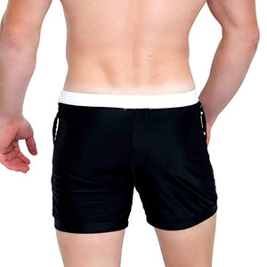 Taddlee Basic Men Swimwear Solid Long Swim Trunks Black Surf Shorts Swimsuits