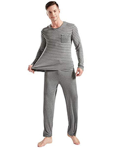 Suntasty Men's Striped Crew Neck Long Sleeve Top with Lounge Bottom Pajama Set