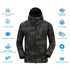 DEWBU Men's Soft Shell Heated Jacket with Battery Pack DB-12 2.0-12 Months Warranty
