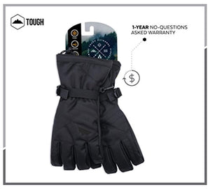 Winter Snow & Ski Touch Screen Gloves - Designed for Skiing, Snowboarding, Shredding, Shoveling & Snowballs - Waterproof, Windproof Nylon Shell & Synthetic Leather Palm - Fits Men & Women