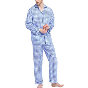 GLOBAL Mens Pajamas Set, 100% Cotton Woven Drawstring Sleepwear Set with Top and Pants/Bottoms