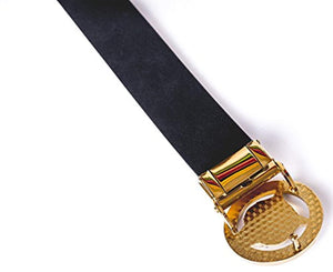 Old John Leather Men's Luxury Gold/Silver Tiger Buckle 35-mm Italian Leather Belt