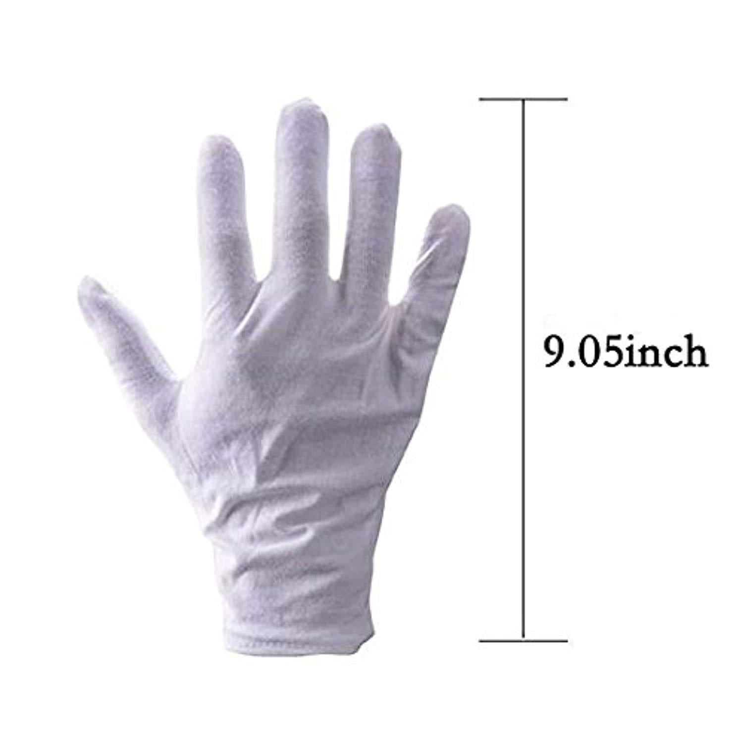 10Pairs White Cotton Gloves Large Size for Coin Jewelry Silver Inspection by SLD