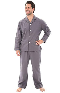 Alexander Del Rossa Mens Solid and Printed Flannel Pajamas, Long Cotton Pj Set