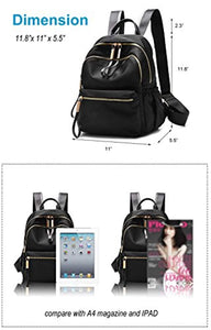 Wraifa Waterproof Oxford PU Leather Small Backpack Purse for Women School Bag for Girls