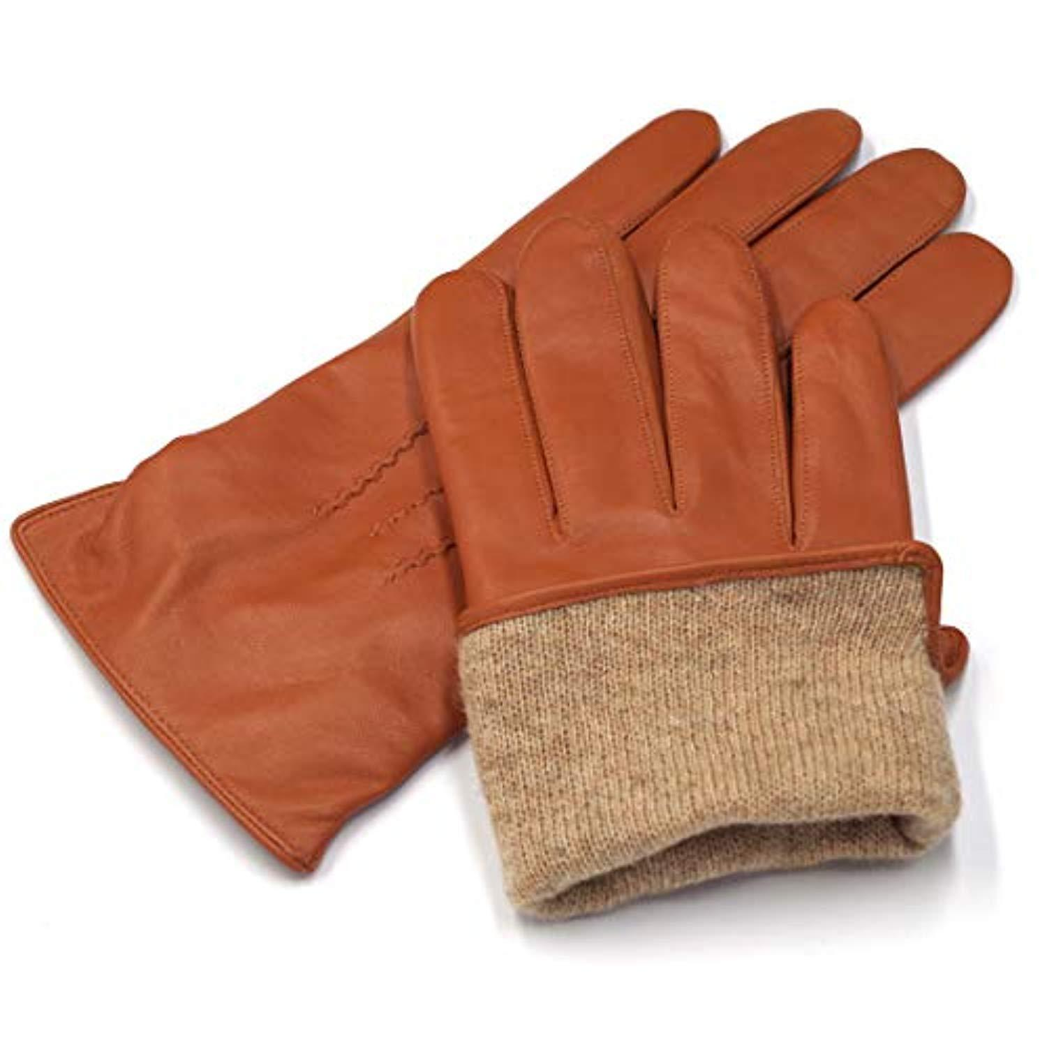 Harssidanzar Mens Luxury Italian Leather Gloves Vintage Finished Wool Lined
