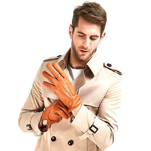 Harssidanzar Mens Luxury Italian Sheepskin Leather Gloves Vintage Finished Cashmere Wool Lined