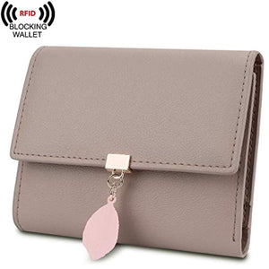 YALUXE Women's RFID Blocking Small Compact Leather Wallet Ladies Mini Purse with ID Window