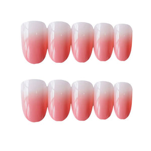 24 Pcs Fake Nails 12 Different Size Simple Black with Dark Green Medium Length Square Full Cover False Nails Artificial Nails (Pink)
