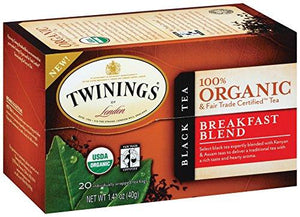 Twinings of London Organic and Fair Trade Certified Breakfast Blend Tea Bags, 20 Count