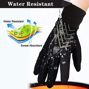 Men and Women 3M Winter Warm Sport Run Gloves Black Fleece Windproof Touchscreen Grip in Pair with Free Earband Set