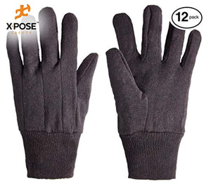 Protective Work Gloves - 12 Pack For Industrial Labor, Home and Gardening Jersey Knit Cotton and Polyester Blend - 9oz Fleece - Men's Large - Brown by Xpose Safety