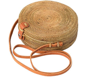 Bali Harvest Round Woven Ata Rattan Bag Linen Inside and Leather Button (with Genuine Leather Strap)