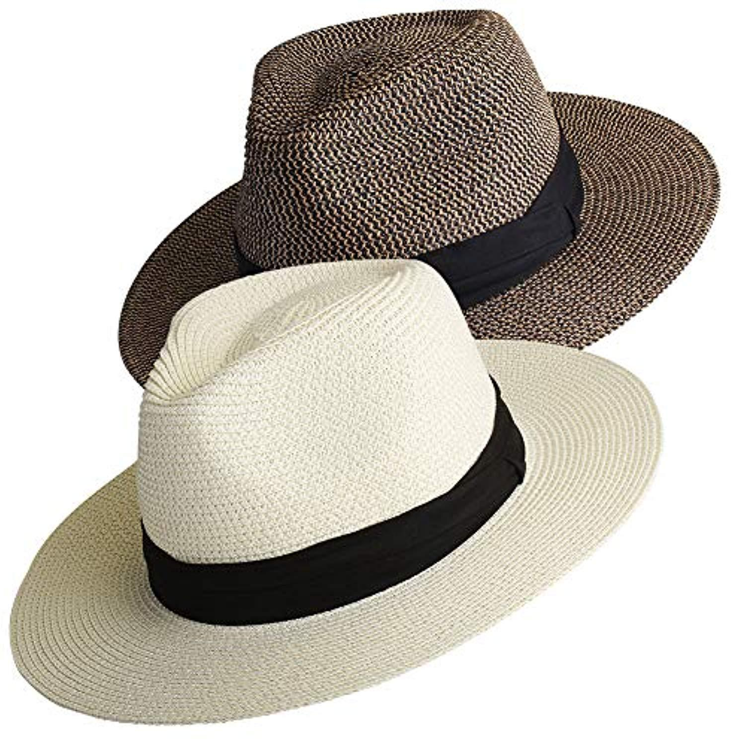 18a67acff Womens Wide Brim Straw Panama Hat Fedora Summer Beach Sun Hat UPF50