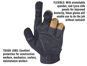 CLC 124L Workright Flex Grip Work Gloves, Shrink Resistant, Improved Dexterity, Tough, Stretchable, Excellent Grip