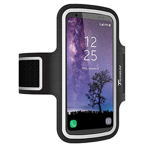 Trianium Water Resistant Armband for Large Cell Phone iPhone X iPhone 8/7/6s/6 Plus, Galaxy S9+, S8+ Edge/Note 9 5/Pixel 2 XL - Adjustable Reflective Workout Band Skin &Key Holder Case (2nd Gen)