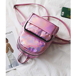 Holographic Laser Leather Backpack for Girls Pink Silver Mini Backpack for Women