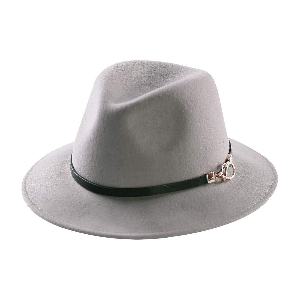 6a1b1be447966 Mostyleo Womens Fedora Hat 100% Wool Felt Hats Winter Trilby Cap Wide Brim  with Leather