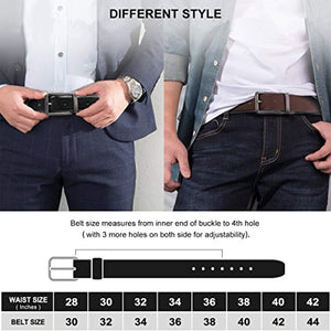 "Belts for Men Genuine Leather Dress Belt Reversible with 1.3"" Wide Rotated Buckle"
