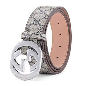 "Fashion Leather Metal Buckle Unisex Belt Casual Business for Men (GK silver-blue, 105CM 【Waist<30""】)"