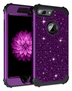Lontect Compatible iPhone 8 Plus Case Glitter Sparkle Bling Heavy Duty Hybrid Sturdy Armor High Impact Shockproof Protective Cover Case for Apple iPhone 8 Plus/7 Plus, Shiny Purple/Black
