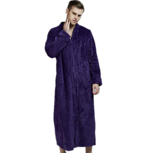❤️ Men Women Nightgown Robe Half Sleeve Loungewear Full Length Sleepwear Zipper Duster Housecoat with Pockets S-XXL