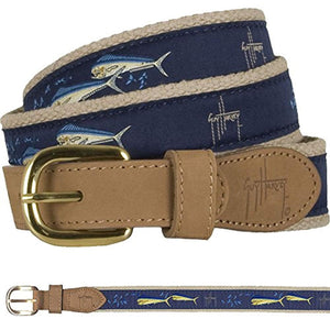 Guy Harvey Dolphin & Flying Fish Belt-Light Blue
