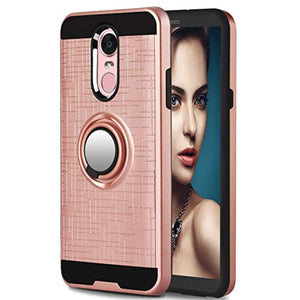 LG Stylo 4 Case,LG Q Stylus Case LG Stylo 4 Plus,Stylus 4 Case with HD Screen Protector,Anoke 360 Degree Rotating Ring Holder Kickstand Scratch Resistant Drop Protective Cover for Stylo 4 ZS Rose Gold