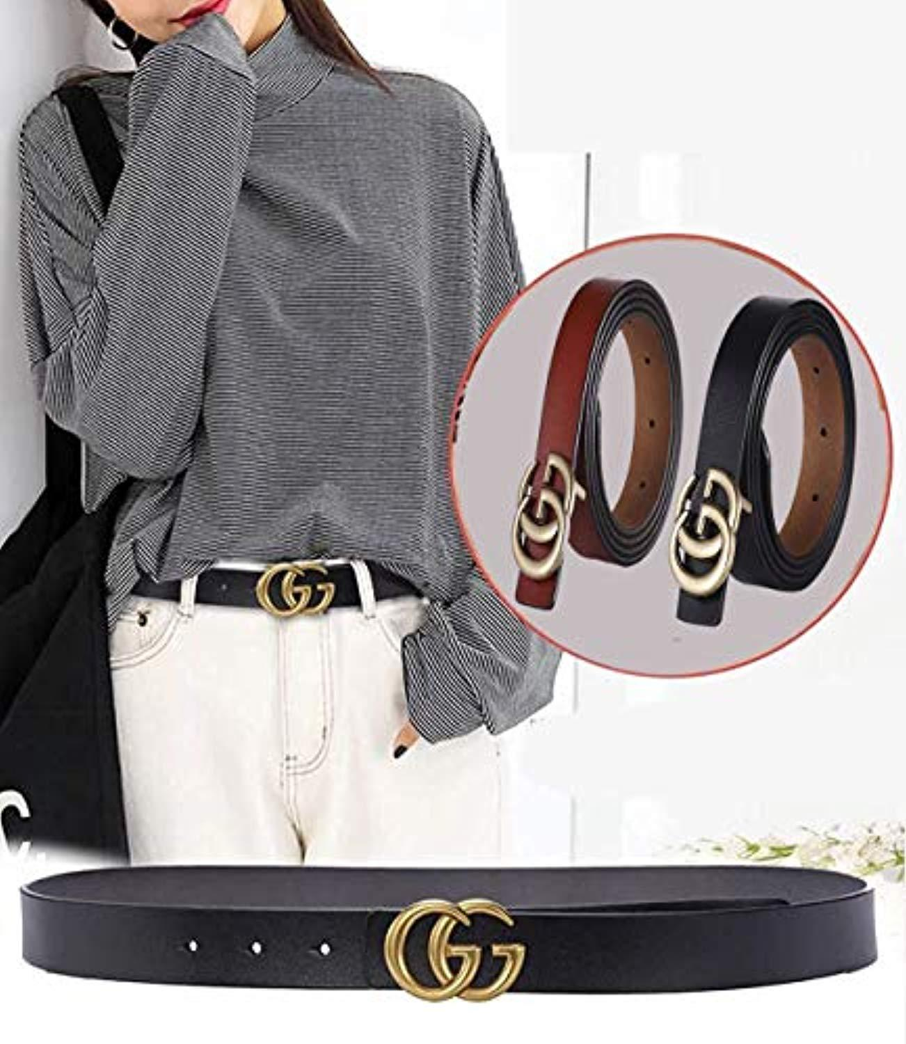 8933a4ceb660 POKTOK Womens G-Style Genuine Leather Belt Vintage Thin Dress Belts For  Girl Fashion Belt For Jeans With Letter Buckle