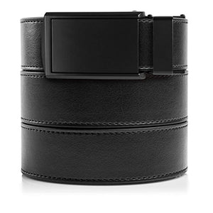"SlideBelts Men's Vegan Leather Belt without Holes - Matte Black Buckle/Black Leather (Trim-to-fit: Up to 48"" Waist)"