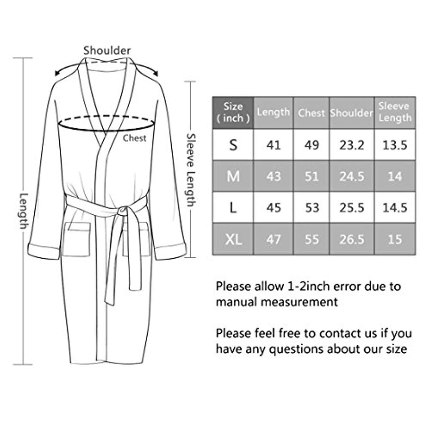 Jearey Mens Kimono Robe Cotton Waffle Spa Bathrobe Lightweight Soft Knee Length Sleepwear with Pockets