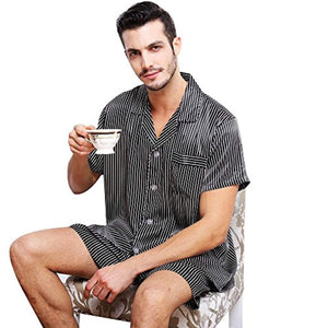 Mens Satin Short Pajamas Set S M L XL 2XL 3XL 4XL