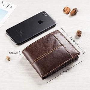 Mens Wallet RFID Genuine Leather Slim Bifold Wallets For Men, ID Window 16 Card Holders Gift Box