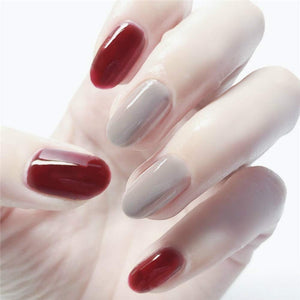 24Pcs Fake Nail Red and Grey Color with12 Different Sizes,Long Round Head Full Cover False Nails Artificial Nails for Women