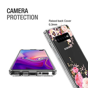 Vinve Floral Slim Case Compatible with Samsung Galaxy S10 Plus, [Crystal Clear] Anti-Scratch Shockproof Cover Hard Back Panel + TPU Bumper Phone Case for Samsung Galaxy S10 Plus (Peony)