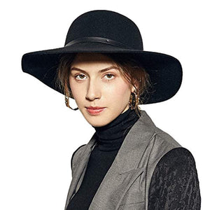 Sedancasesa Wide Brimmed 100% Wool Felt Floppy Hat Vintage Women Warm Triby Hats