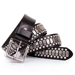 Punk Rock Studded Belt Leather Black