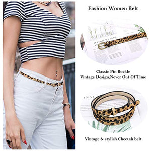 Leopard Print Belt Women's leather Haircalf Waist for pants/dress Ladies Casual Cheetah Waistband-3/6''