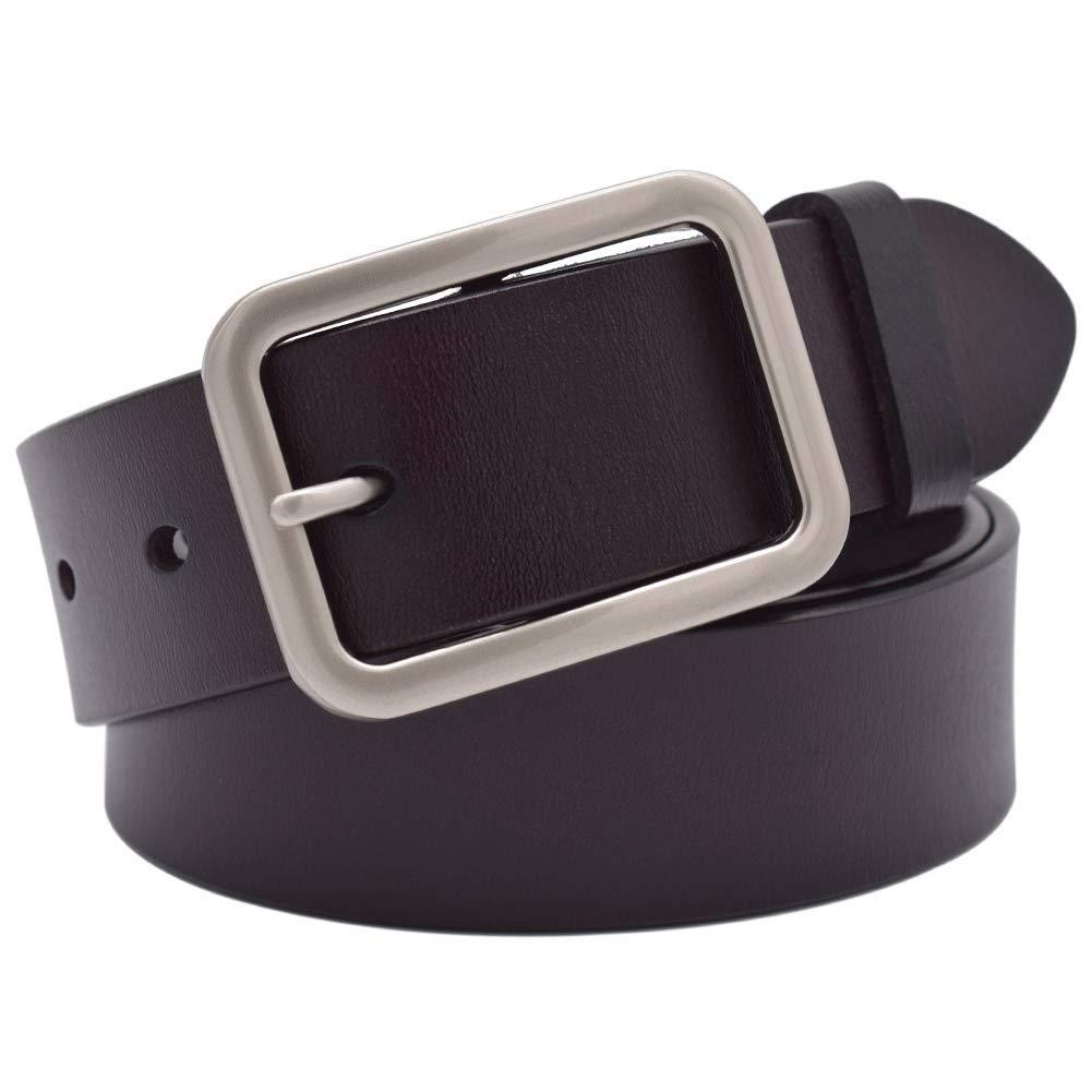 Leather Belt with Metal Buckle Vonsely Soft Wide Leather Belt for Jeans Shorts