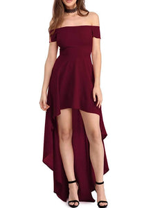 Women Off The Shoulder Short Sleeve High Low Hem Club Cocktail Skater Dress