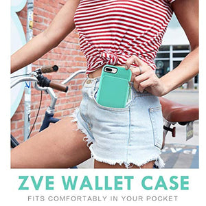ZVE Wallet Case for Apple iPhone 8 Plus and iPhone 7 Plus, 5.5 inch, Zipper Wallet Case with Credit Card Holder Slot Handbag Purse Wrist Strap Cover for Apple iPhone 8/7 Plus 5.5 inch - Blue