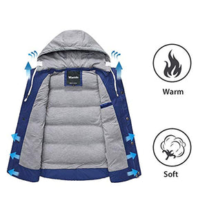 Wantdo Men's Winter Puffer Vest Removable Hooded Quilted Warm Sleeveless Jacket Gilet