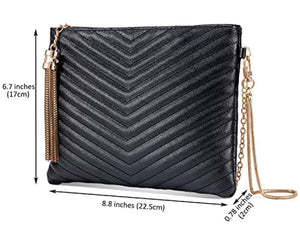 Women Clutch Purse Crossbody Evening Bags with Faux Leather Chain Wristlet Strap