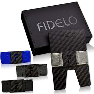FIDELO Carbon FIber Minimalist Wallet - Mens Slim Wallet Credit Card Holder Money Clip with 4 Cash Bands - Front Pocket RFID Blocking Wallets for Men
