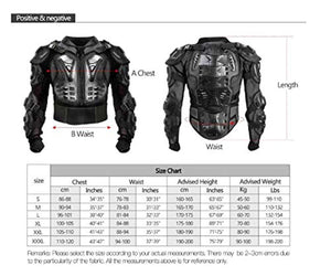 Motorcycle Full Body Armor Protector Pro Street Motocross ATV Guard Shirt Jacket with Back Protection Black 3XL